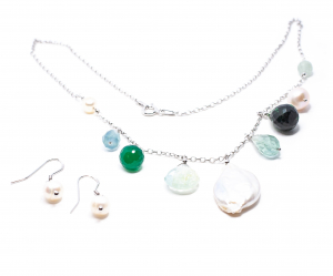 Lanț  Creație cu Perlă de Cultură,Zoisit,Ametist Verde,Agat Verde si Argint [1]