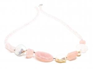 Colier Creatie din Cuart Roz, Perle si Argint [1]