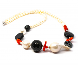 Colier Creatie cu Perla, Coral, Onix, Hematit si Argint1