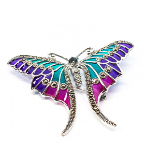 Brosa Fluture cu Email, Marcasite si Safir din Argint [0]