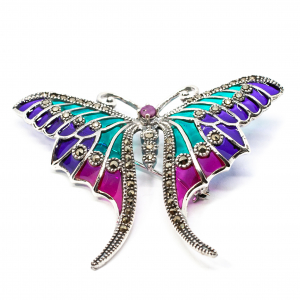 Brosa Fluture cu Email, Marcasite si Safir din Argint [1]