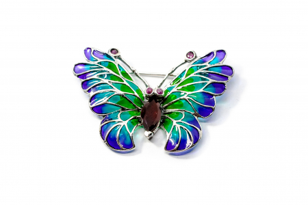 Brosa Fluture cu Email, Granat ,Rubin din Argint0