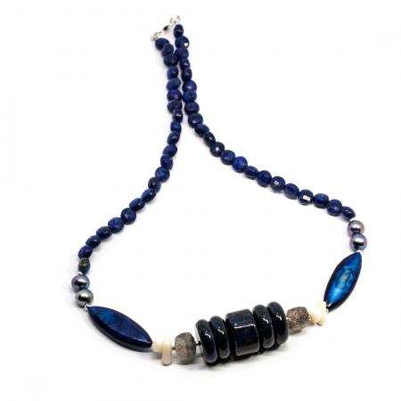 Colier Creatie cu Lapis Lazuli, Cuart, Sidef, Perla si Argint [0]