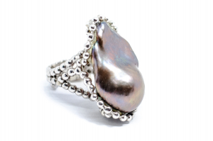 Inel din Argint cu Perla  Baroc Gri1
