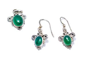 Set Cercei si Pandantiv Agat Verde si Argint1