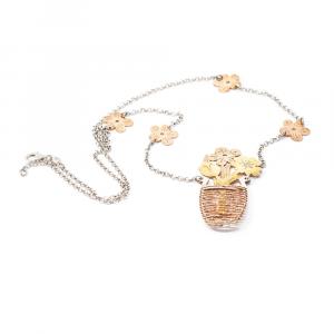 Lanț din Argint cu Pandantiv Ghiveci cu Flori [0]