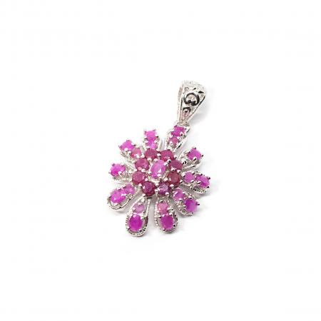 Pandantiv din Argint Floare cu Rubin0