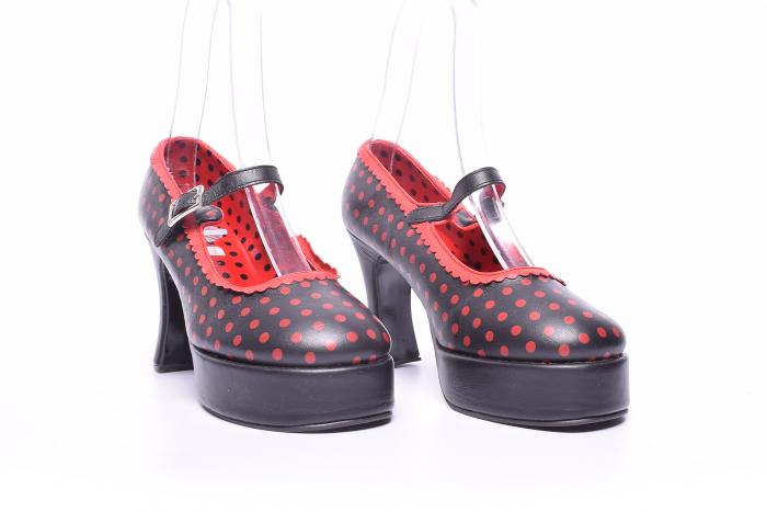 Pantofi dama cu buline rosii 2