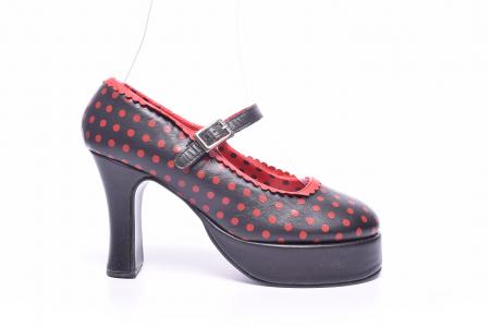 Pantofi dama cu buline rosii0