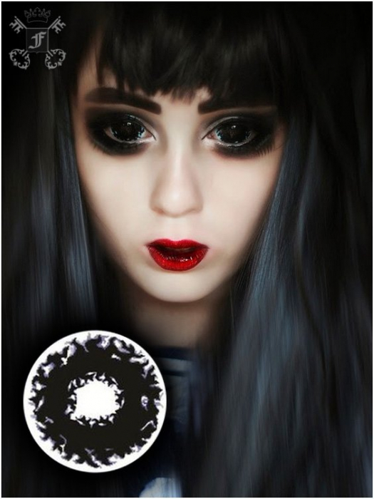 Apocalypse Black 22mm full eye sclera colored 6-month contact lenses pair, no dioptres 1