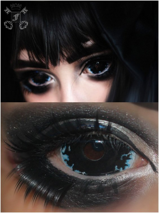 Apocalypse Black 22mm full eye sclera colored 6-month contact lenses pair, no dioptres 0
