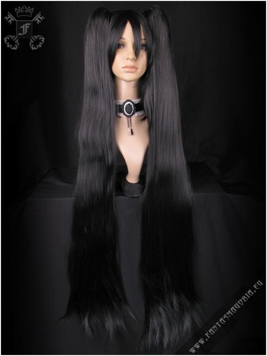 Balck wig with extra long ponytail (single) 0