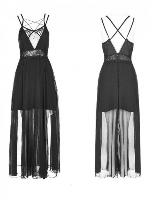 Black Swan long dress OPQ-347/BK Punk Rave 2