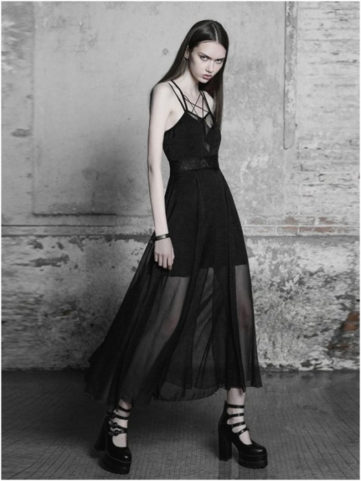 Black Swan long dress OPQ-347/BK Punk Rave 1