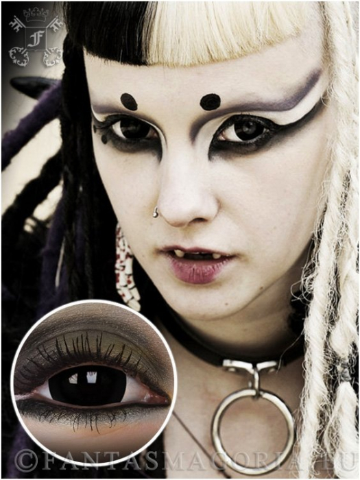 Black Titan 17mm contact lenses pair -black 0
