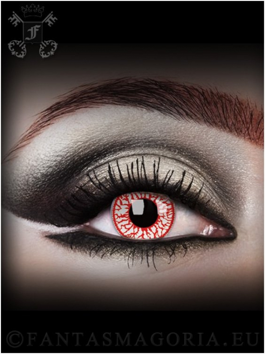 Blood Shot Rage red-white colored 1-day crazy contact eye lenses pair, no dioptres 1