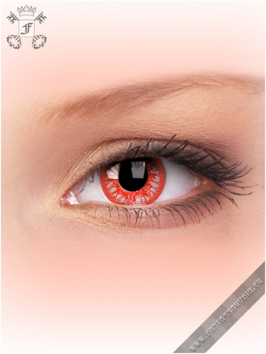 Blood Shot Rage red-white colored 1-day crazy contact eye lenses pair, no dioptres 0