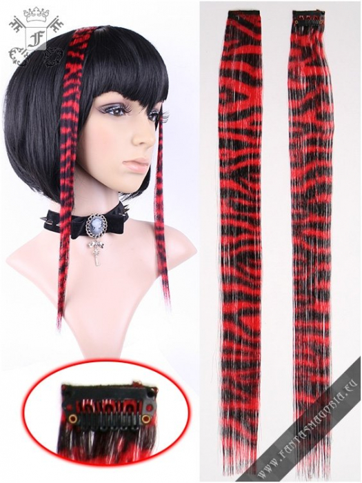 Clip-in red zebra hair extensions (pair) 2