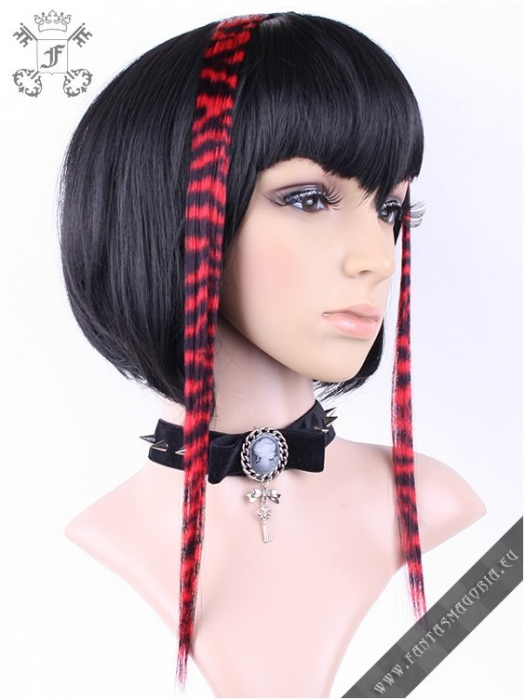 Clip-in red zebra hair extensions (pair) 1