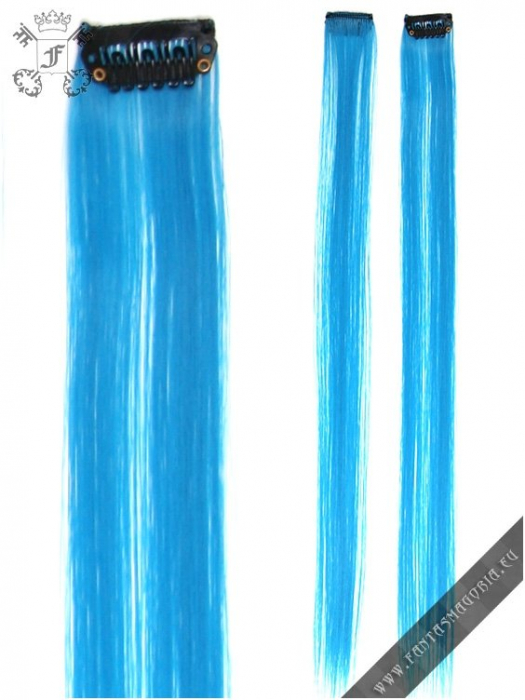 Clip-in turquoise blue hair extensions (pair) 1