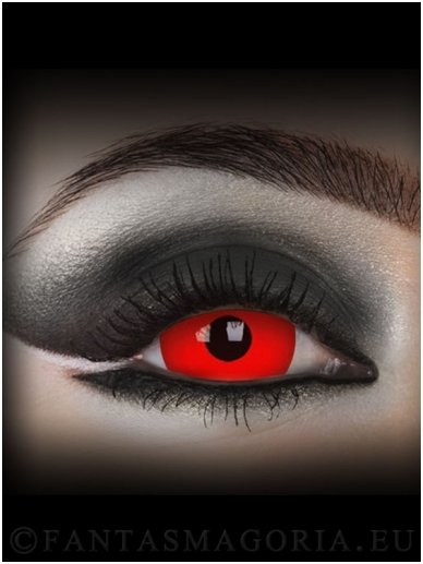 DareDevil red 17mm mini sclera colored 1-year contact eye lenses pair, no dioptres 0