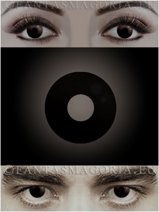 Dark Side Black colored 1-year contact eye lenses pair, no dioptres 0