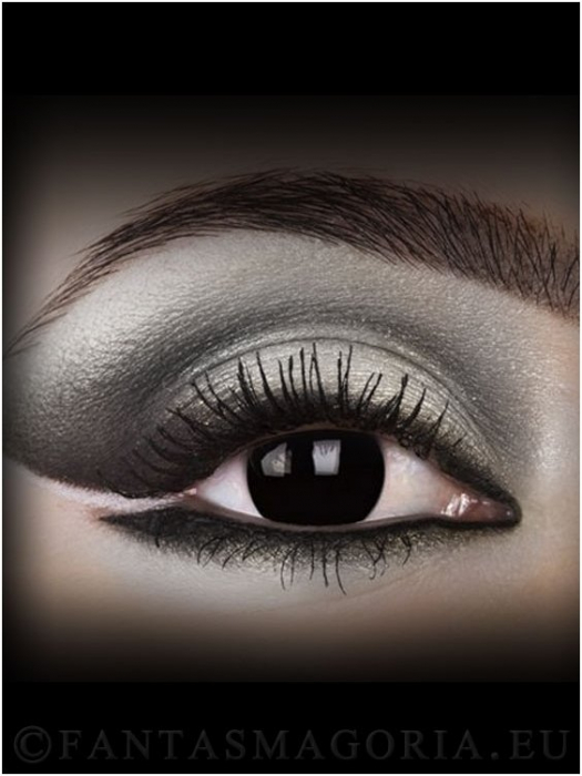 Dark Side Black colored 1-year contact eye lenses pair, no dioptres 1