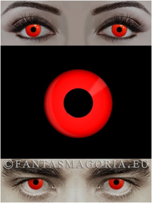 Dracula Red colored 1-year contact eye lenses pair, no dioptres 0