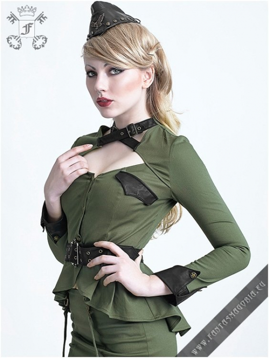 Girl Soldier top Y-623GRN Punk Rave 0