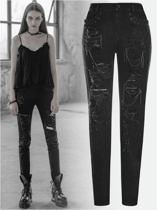 Girl Stalker trousers OPK-209/BK Punk Rave 0