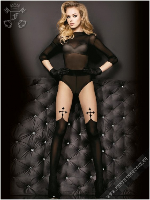 Gothic black cross tights 1