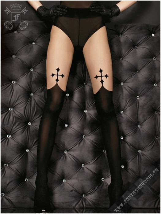 Gothic black cross tights 0