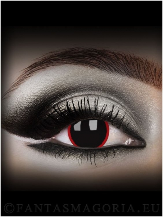 Hellraser black with red ring colored 1-year contact eye lenses pair, no dioptres 0