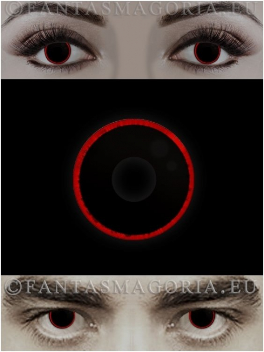 Hellraser black with red ring colored 1-year contact eye lenses pair, no dioptres 1