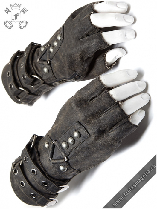 Mad Max grey gloves (PAIR) WS-252/GY Punk Rave 0