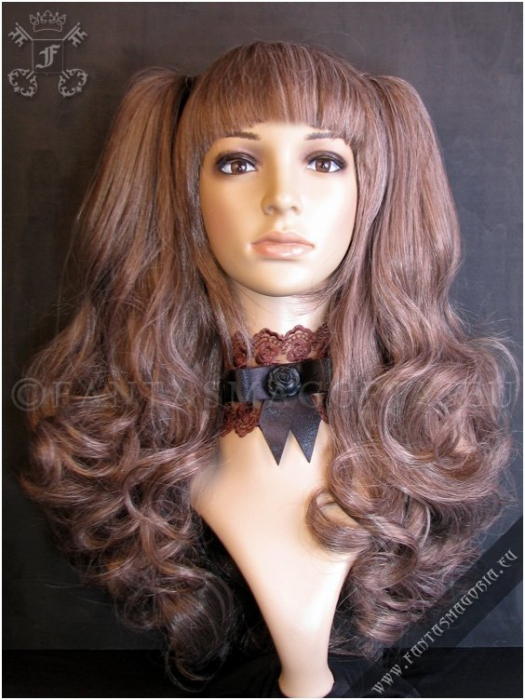 Pastel brown wig with curly ponytails 0