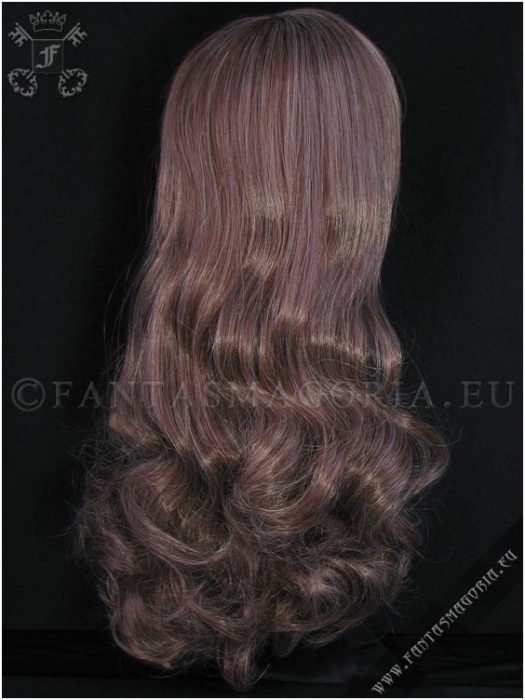 Pastel brown wig with curly ponytails 2