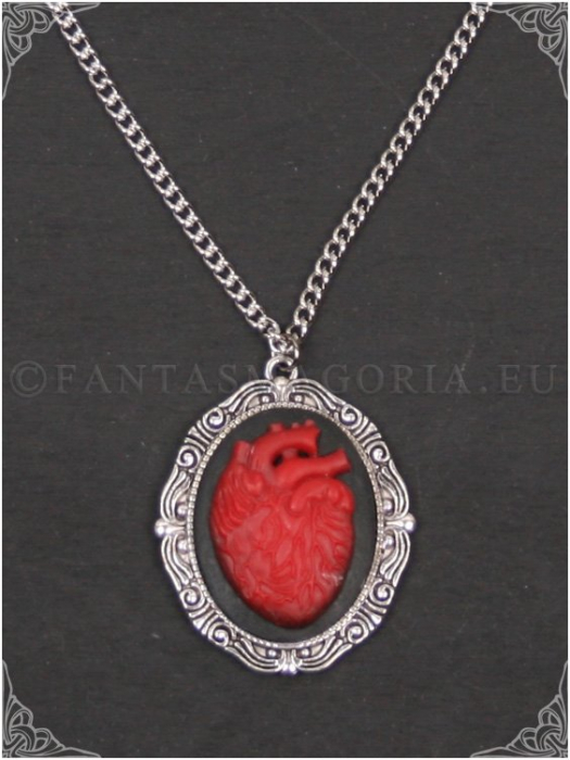 Red Dead Heart cameo pendant on a chain 0