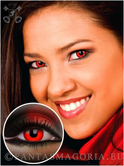 Red Devil Blood red colored 1-day crazy contact eye lenses pair, no dioptres 0