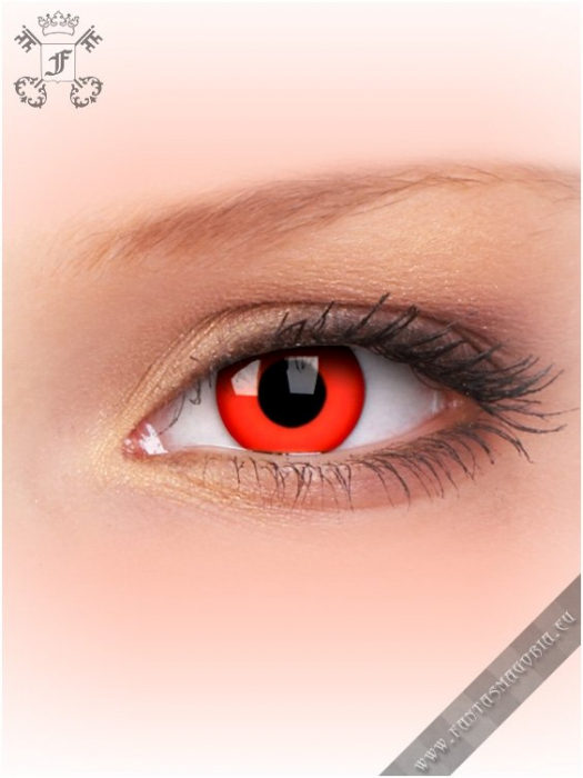 Red Devil Blood red colored 1-day crazy contact eye lenses pair, no dioptres 2