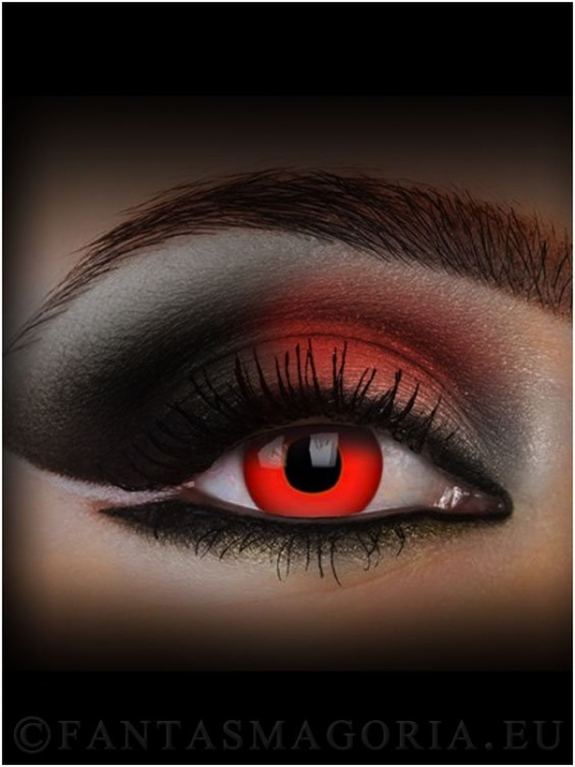 Red Devil Blood red colored 1-day crazy contact eye lenses pair, no dioptres 1