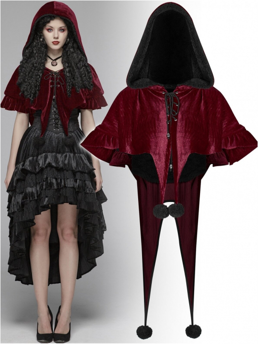 Red Fairy hooded bolero cape WLY-092-RD Punk Rave 0