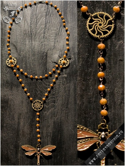 Steampunk Dragonfly rosary necklace 2
