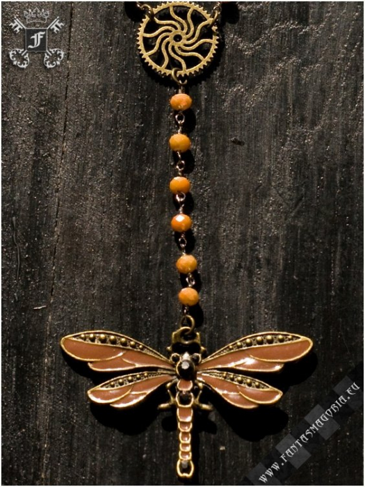 Steampunk Dragonfly rosary necklace 1