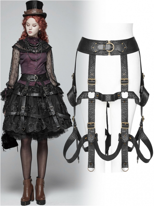 The Cage harness-skirt WS-281/BK Punk Rave 0