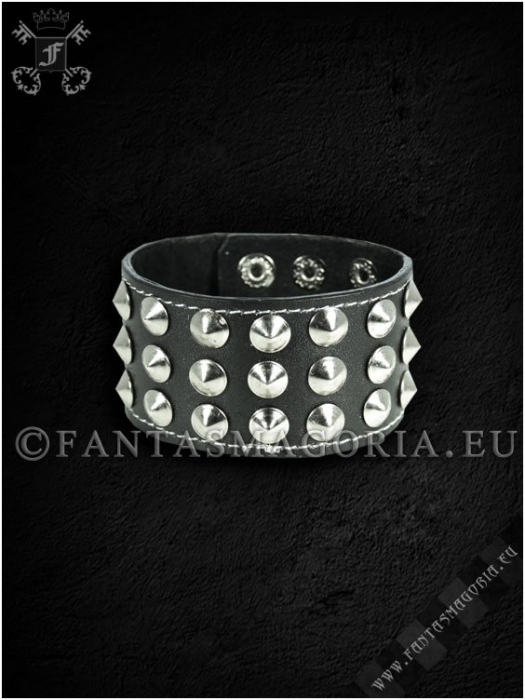 Three rows conical studs wristband 2