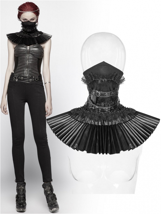 Valerian neck corset - collar with face mask WS-293/BK Punk Rave 0