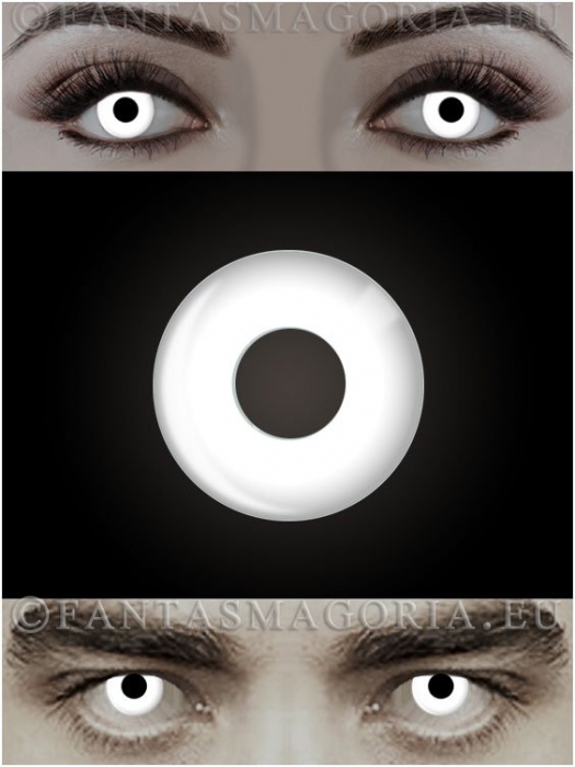 White Witch white colored 1-year contact eye lenses pair, no dioptres 0