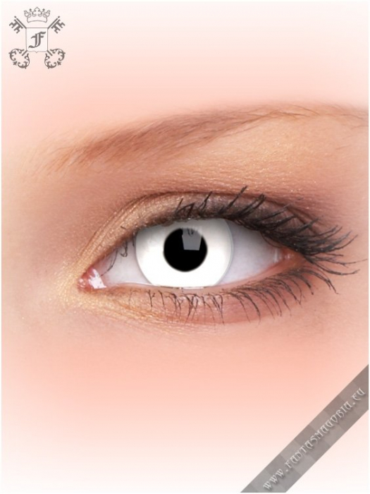 Whiteout white colored 3-months contact eye lenses pair, with dioptres 0