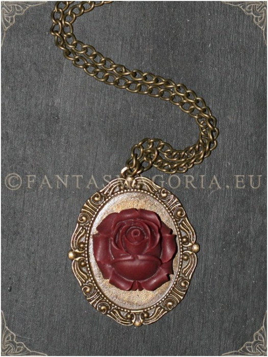 Wine Rose Steampunk pendant on a metal chain 0